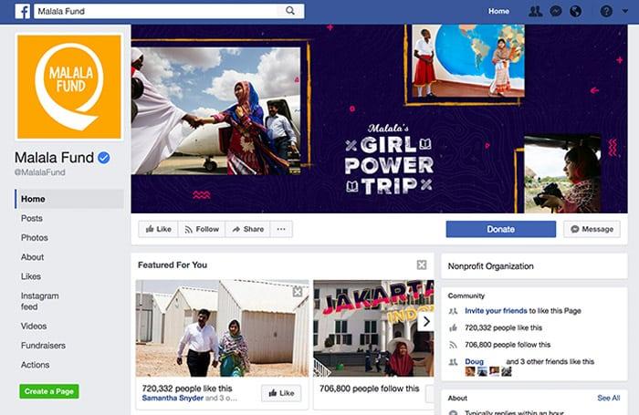 Malala Fund Facebook Page